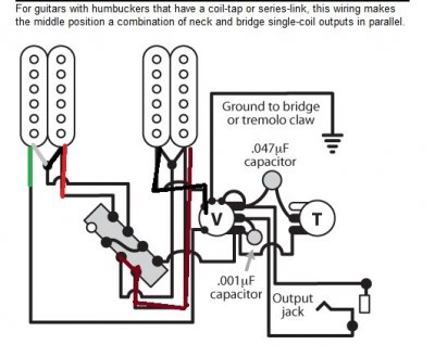 Crl 3 Way Switch Wiring Diagram furthermore 421708 Wiring Crossfader Instead Pickup Switch also Les Paul 2 P 90 1 Tone 1 Volume Wiring Schematic further Volume Treble Bleed Bypass Circuit additionally Hot Rails Wiring. on 2 humbucker wiring diagrams