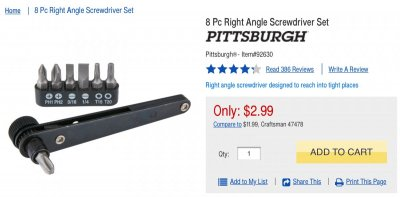 8 Piece Right Angle Screwdriver Set Pittsburgh